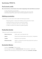SUMMARY: PST311L Economic Literature Summary for Exams