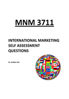 Answers: MNM3711 - SELF ASSESSMENT QUESTIONS