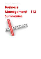 SUMMARY: Business Management 113 Summaries