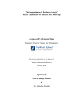 ABSCHLUSSARBEIT: Importance of Business Angels' social capital for the success of a start-up- Thesis