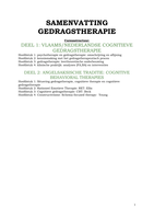 SAMENVATTING: Samenvatting gedragstherapie