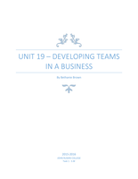 ESSAY: UNIT 19 P1 P1 Describe different types of teams and the benefits of teams for an organisation - P2 – Explain how to build cohesive teams that perform well - P3 – Define the attributes and skills needed by a team leader