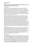 ESSAY: Unit 2 M1 - Explain how the management of human, physical and technological resources can improve the performance of a selected organisation