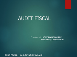 NOTES DE COURS: AUDIT & CONTROL FISCAL