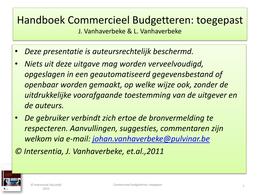 PRESENTATION: Slides Hoofdstuk 5 - Commerciële Budgettering