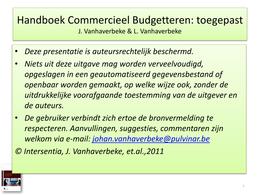 PRESENTATION: Slides Hoofdstuk 1 - Commerciële Budgettering