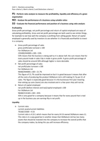 ESSAY: Unit 5 P5 M2 D2, P5 – Perform ratio analysis to measure the profitability, liquidity and efficiency of a given organisation M2 – Analyse the performance of a business using suitable ratios D2 – Evaluate the financial performance and position of a business