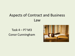PRESENTATION: Unit 21 - Aspects of Contract and Business Law - P7 M3