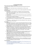 LECTURE NOTES: Fee Will and Determinism