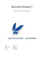 CASE: High quality (my grade: 8) assignment 1 (quantitative data analysis) for Research Seminar 2