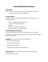 LECTURE NOTES: Human Capital/Economic Products