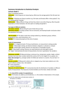 SAMENVATTING: CM1005 Introduction to Statistical Analysis book + lectures