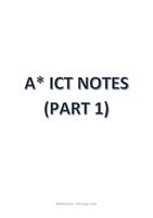 SAMENVATTING: IGCSE/ O-LEVEL A* ICT NOTES (PART 1)