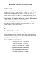 SAMENVATTING: Introduction to the Themes and Characters in Hamlet