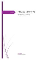 SUMMARY: Family law 171 textbook summaries 2016
