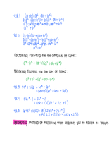 LECTURE NOTES: Factoring Polynomials