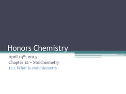 PRESENTATION: Stoichiometry Presentation