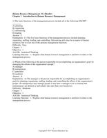 Exam: Dessler 15e C01