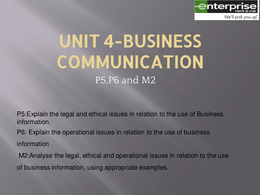 unit 4 business communication 2 staff Unit 4 business communications good the second unit is about business communication and the and the possible need for more complex software and staff.