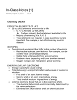 LECTURE NOTES: Chemistry of Life I Notes