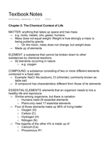 LECTURE NOTES: Chemical Context of Life Notes