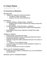 LECTURE NOTES: Metabolism Notes