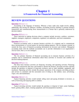 Answers: Chapter 1 A Framework for Financial Accounting  Solutions