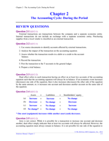Antwoorden: Chapter 2 The Accounting Cycle: During the Period