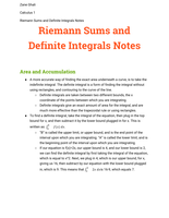 LECTURE NOTES: Riemann Sums and Definite Integrals Notes