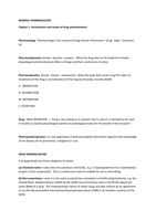 LECTURE NOTES: General pharmacology chapter 1