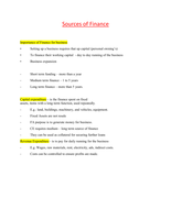 SAMENVATTING: Sources of finance