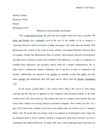 ESSAY: Differences between Males and Females