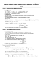 COLLEGEDICTAAT: Revision Notes FM06 Numerical and Computational Methods in Finance