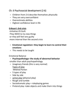 LECTURE NOTES: Development PSYCH notes (CH. 6 Psychosocial development from 2-6)