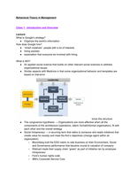 LECTURE NOTES: Behavioral Theory in Management
