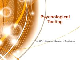 PRESENTATION: Psychological Testing