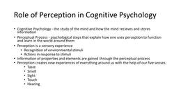 PRESENTATIE: Week 2 - Perception & Cognition Slides