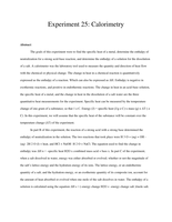 Answers: Calorimetry Lab Report