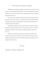 """ESSAY: The Central Idea and Tone in Walt Whitman's """"Song of Myself""""."""