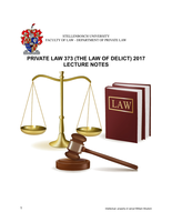 LECTURE NOTES: Private law 373 (semester 1 2017)
