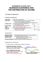 VORLESUNGSMITSCHRIFT: Revision Notes Economics Unit 3: Business Economics and the Distribution of Income