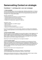 RESUME: Samenvatting Context en strategie
