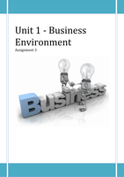 ESSAY: Unit 1 Business Environment - P5 P6 M2 M3 D2 *(GUARANTEED TO PASS)*