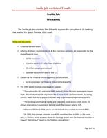 "SUMMARY: Financial crisis 2008 documentary ""Inside Job"" worksheet"