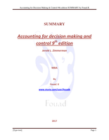 SUMMARY: Accounting for Decision Making and Control 9th edition, Zimmerman PDF SUMMARY