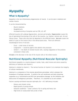 LECTURE NOTES: Myopathies