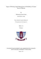 THESIS: Impact of Working Capital Management on Profitability of Cement Sector in Pakistan