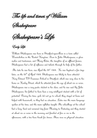 william shakespeare life and accomplishments essay
