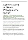 SAMENVATTING: Samenvatting alle artikelen Pedagogische Ethiek Bsc jaar 3