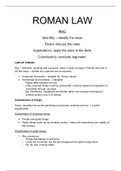 LECTURE NOTES: Roman Law 271 study notes